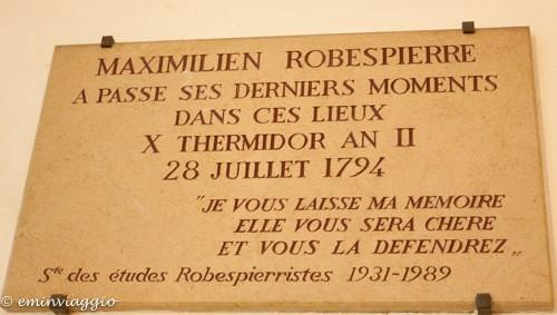 Parigi, Conciergerie, targa della cella di Robespierre